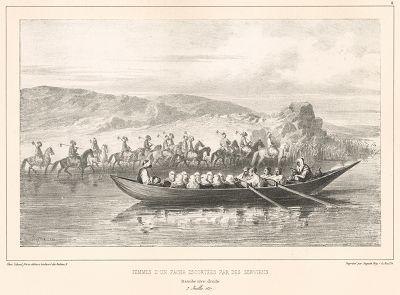 Гарем турецкого паши следует по Дунаю в сопровождении конного эскорта 7 июля 1837 года (из Voyage dans la Russie Méridionale et la Crimée... Париж. 1848 год (лист 4))