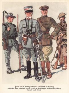 Итальянский альпийский стрелок (слева) и генерал (в центре). Американский офицер и морской пехотинец (справа) (из популярной в нацистской Германии работы Мартина Лезиуса Das Ehrenkleid des Soldaten... Берлин. 1936 год)
