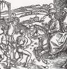 """Катон Младший освобождает злодея, приговорённого к повешению (иллюстрация к книге """"Рыцарь Башни"""", гравированная Дюрером в 1493 году)"""