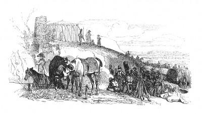 Австрийская кампания 1805 г. 1 декабря 1805 г., накануне Аустерлицкого сражения, император Наполеон наблюдает за движением союзных войск. Histoire de l'empereur Napoléon. Париж, 1840