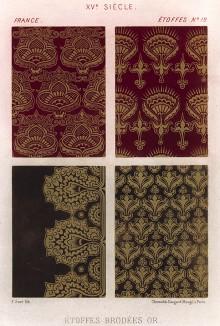 Образцы золотого шитья. Франция. XV век (из Les arts somptuaires... Париж. 1858 год)