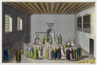 Дервиши готовятся к танцу (из работы Джулио Феррарио Il costume antico e moderno, o, storia... di tutti i popoli antichi e moderni, изданной в Милане в 1816 году (Европа. Том I))