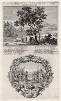 1. Авраам и Лот делят своё имущество 2. Война с содомским правителем (из Biblisches Engel- und Kunstwerk -- шедевра германского барокко. Гравировал неподражаемый Иоганн Ульрих Краусс в Аугсбурге в 1700 году)