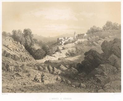 Хасбейя (Le Pays d'Israel collection de cent vues prises d'après nature dans la Syrie et la Palestine par C. W. M. van de Velde. Париж. 1857 год. Лист 11)