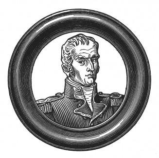 """Хадсон Лоу (1769-1844) — тюремщик Наполеона, английский генерал. Ему было вверено наблюдение за Бонапартом на о-ве Св. Елены. Лоу был тупым служакой, боявшимся всего на свете, а больше всего — своего пленника. Илл. к пьесе С.Гитри """"Наполеон"""". Париж, 1955"""