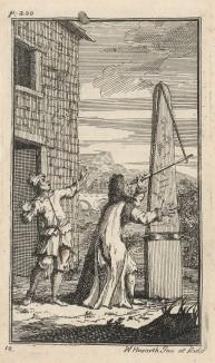 Маг и астролог Сидрофел наблюдает за движением звезд под восторженные возгласы своего слуги Вэкума, привлекающего внимание Гудибраса. Иллюстрация к поэме «Гудибрас». Лондон, 1732