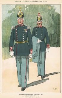Шведские гренадеры полка Andra (полковник и ординарец) в униформе образца 1858-72 гг. Svenska arméns munderingar 1680-1905. Стокгольм, 1911