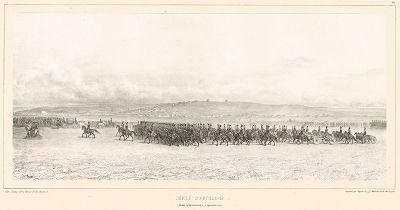 Проход артиллерии перед Его Императорским Величеством в Вознесенском лагере 7 сентября 1837 года (из Voyage dans la Russie Méridionale et la Crimée... Париж. 1848 год (лист 62))