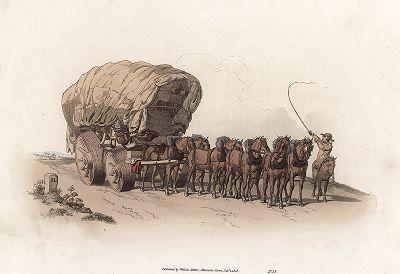 """Фургон (кибитка). Тяжело гружённая повозка на специальных колесах, запряжённая восемью лошадьми. Лист из издания """"The Costume of Great Britain"""", Лондон, 1805-1808."""