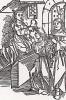 Коронованная особа присваивает учёному степень доктора (гравюра Дюрера с титульного листа Oratorio Cassandre virginis venete pro Bertuchio Lamberto -- научного труда первой женщины-учёного Кассандры Фиделис (1465 - ?)