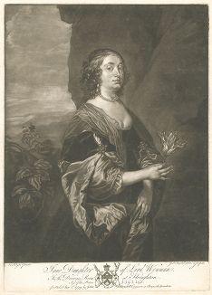 Джейн Гудвин, дочь лорда Венмана. Меццо-тинто с оригинала Антониса ван Дейка из коллекции Роберта Уолпола. Лист из издания The Houghton Gallery, Лондон, 1779.