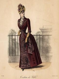 Яркий дамский городской костюм с пышной юбкой, широким поясом и жабо. Из французского модного журнала Le Coquet, выпуск 241, 1888 год