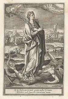 """Святая Маргарита Антиохийская. Лист к серии гравюр """"Мартиролог святых дев"""" (Martyrologium Sanctarum Virginum), Париж, ок. 1600 г."""