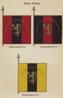 Знамёна 14-го, 15-го и 16-го пехотных полков норвежской армии (лист 17 работы Den Norske haer. Organisasjon bevaebning, og uniformsbeskrivelse, изданной в Лейпциге в 1932 году)