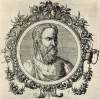 Аретей (конец I--начало II вв. н.э.) -- знаменитый врач античной эпохи (лист 11 иллюстраций к известной работе Medicorum philosophorumque icones ex bibliotheca Johannis Sambuci, изданной в Антверпене в 1603 году)