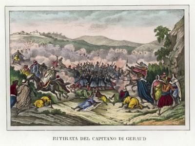 Отступление отряда капитана Жиро (иллюстрация к L'Africa francese... - хронике французских колониальных захватов в Северной Африке, изданной во Флоренции в 1846 году)