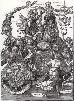 Большая Триумфальная колесница императора Максимилиана I, придуманная, нарисованная и напечатанная Альбрехтом Дюрером (часть 1)