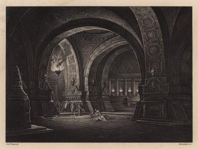 Катакомбы в Риме. Гравюра с картины Иозефа Платцера. Картинные галереи Европы, т.3. Санкт-Петербург, 1864