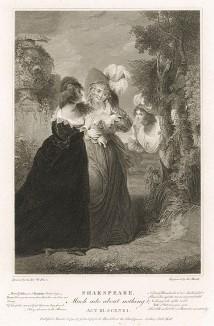 """Иллюстрация к комедии Шекспира """"Много шума из ничего"""", акт III, сцена I: Беатриче слышит, как Геро и Урсула говорят о том, что Бенедикт сильно в нее влюблен. Boydell's Graphic Illustrations of the Dramatic works of Shakspeare, Лондон, 1803."""