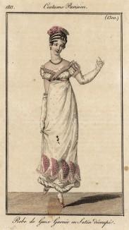 Лёгкое газовое платье на атласной подкладке. Из первого французского журнала мод эпохи ампир Journal des dames et des modes, Париж, 1813. Модель № 1300