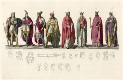 Первые короли франков (из работы Джулио Феррарио Il costume antico e moderno, o, storia... di tutti i popoli antichi e moderni, изданной в Милане в 1826 году (Европа. Том V))