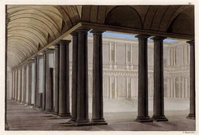 Внутренний двор палаццо в Милане (из знаменитой работы Джулио Феррарио Il costume antico e moderno, o, storia... di tutti i popoli antichi e moderni, изданной в Милане в 1822 году (Европа. Том III))