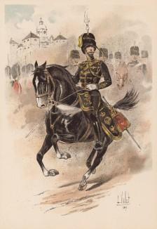 """Офицер 14-го гусарского полка английской армии гарцует перед строем (из """"Иллюстрированной истории верховой езды"""", изданной в Париже в 1893 году)"""