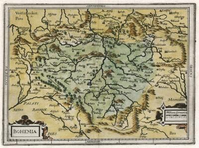Богемия. Bohemia. Немецкое издание карты Герхарда Меркатора и Йодокуса Хондиуса. Амстердам, 1654