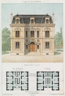 Кирпичный дом в классическом стиле в Сен-Клу, западном пригороде Парижа (из популярного у парижских архитекторов 1880-х Nouvelles maisons de campagne...)