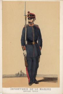 Солдат испанской морской пехоты в парадной форме образца 1860 года (из альбома литографий L'Espagne militaire, изданного в Париже в 1860 году)