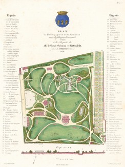 Парк в имении Соломона Ротшильда. Округ Сюрен, Франция. Общий план и вид . F.Duvillers, Les parcs et jardins, т.I, л.7. Париж, 1871