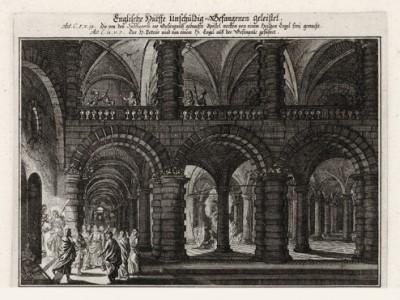 Ангел выводит апостолов из темницы в Иерусалиме (из Biblisches Engel- und Kunstwerk -- шедевра германского барокко. Гравировал неподражаемый Иоганн Ульрих Краусс в Аугсбурге в 1694 году)
