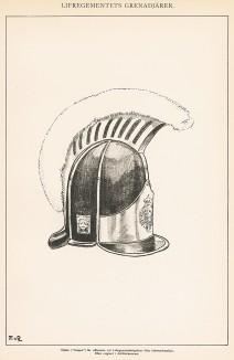 Шлем шведского пехотинца конца XVIII века. Svenska arméns munderingar 1680-1905. Стокгольм, 1911