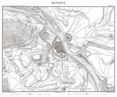 """Майнц и окрестности. Из атласа к работе Луи Адольфа Тьера """"История французской революции"""", карта 7. Париж, 1866"""