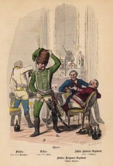 """Прусские гусары пируют в захваченном замке (иллюстрация Адольфа Менцеля к известной работе Эдуарда Ланге """"Солдаты Фридриха Великого"""", изданной в Лейпциге в 1853 году)"""