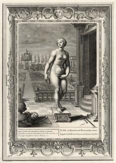 """Пигмалион обращается к Афродите с мольбой оживить статую, которую он высек. Та вдыхает в изваяние жизнь (лист известной работы """"Храм муз"""", изданной в Амстердаме в 1733 году)"""