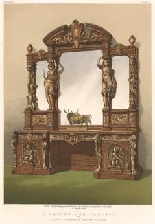 Роскошный резной кабинет из дуба от Jackson & Graham. В викторианской Англии слово «дубовый» было синонимом богатства (Каталог Всемирной выставки в Лондоне. 1862 год. Том 1. Лист 11)