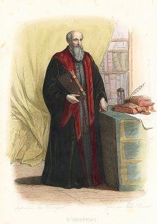 Мишель де л'Опиталь (1504/07-1573) - французский политик, поэт и гуманист. Лист из серии Le Plutarque francais..., Париж, 1844-47 гг.