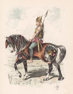 """Вождь древних галлов (из """"Иллюстрированной истории верховой езды"""", изданной в Париже в 1891 году)"""