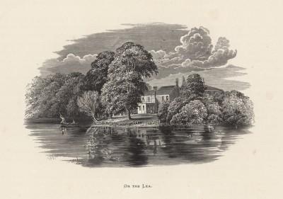 """Домик на берегу реки Ли, притока Темзы (иллюстрация к работе """"Пресноводные рыбы Британии"""", изданной в Лондоне в 1879 году)"""
