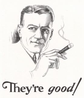 Мужчина с сигарой. Газетная реклама.