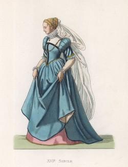 """Благородная дама из Равенны в голубом платье (XVI век) (лист 52 работы Жоржа Дюплесси """"Исторический костюм XVI -- XVIII веков"""", роскошно изданной в Париже в 1867 году)"""