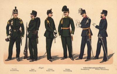 Голландские егеря: горнист в парадной форме, егерь в полевой форме и офицеры в парадной форме. Офицеры административной службы в парадной и повседневной формах одежды