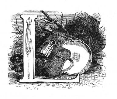 Инициал (буквица) L, предваряющий двадцать первую главу «Истории императора Наполеона» Лорана де л'Ардеша о результатах сражения при Аустерлице, о Трафальгарском бое, Пресбургском мире, возвращении императора во Францию. Париж, 1840