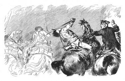 Семилетняя война 1756-1763 гг. Ранение генерала Зейдлица при безуспешных атаках прусской кавалерии в битве при Кунерсдорфе 12 августа 1759 г. Илл. А. Менцеля к Geschichte Friedrichs des Grossen von F. Kugler. Лейпциг, 1842, с.421