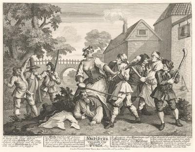 Гудибрас, 1725-26. Гудибрас повержен Труллой. Гравюра иллюстрирует эпизод поэмы, когда Гудибраса захватила врасплох местная бой-баба Трулла. Рыцарь выходит из щекотливого положения отнюдь не пуританским способом. Лондон, 1838