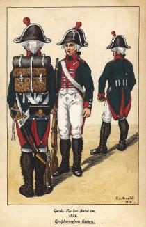 1806 г. Пехотинцы фузилерного батальона лейб-гвардии великого герцогства Гессен в полевой форме. Коллекция Роберта фон Арнольди. Германия, 1911-29