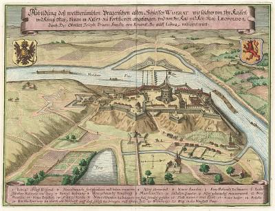 Крепость Визерат близ Праги. Abbildung dess weitberümbten Pragerischen alten Schlosses Wiserat. Из Theatrum Europeaum. Франкфурт-на-Майне, 1655