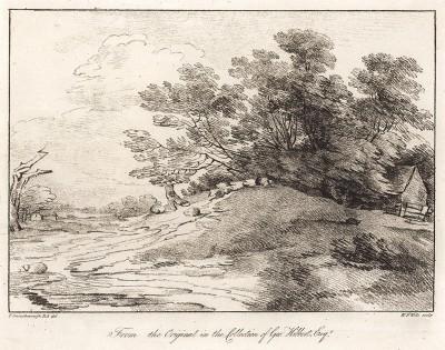 Пейзаж с сельскими домиками. Гравюра с рисунка знаменитого английского пейзажиста Томаса Гейнсборо из коллекции Дж. Хибберта. A Collection of Prints ...of Tho. Gainsborough, Лондон, 1819.
