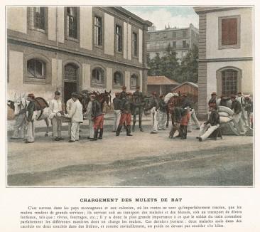 Тренировка санитаров французского военного госпиталя. L'Album militaire. Livraison №5. Genie & train des еquipages. Париж, 1890
